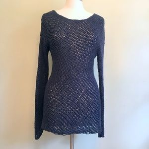 Vince Navy Wms M Open Weave Cotton Sweater Long